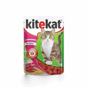 Корм для котов Kitekat с телятиной в соусе