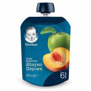 Пюре фрукт Gerber Яблоко и персик пастр витамин 6+