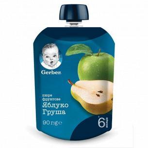 Пюре фрукт Gerber Яблоко и груша пастр витамин 6+