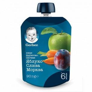 Пюре Gerber яблоко-слива-морковь