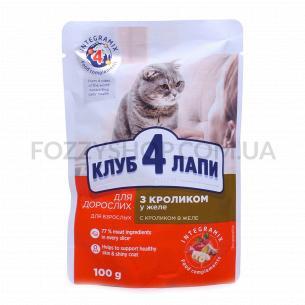 Корм для котов Club 4 Paws с кроликом в желе