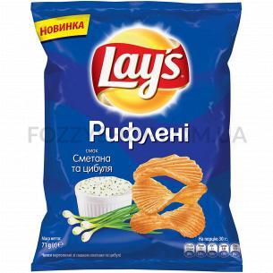 Чипсы Lay`s Рифленые картофельные со вкусом сметаны и лука 71г