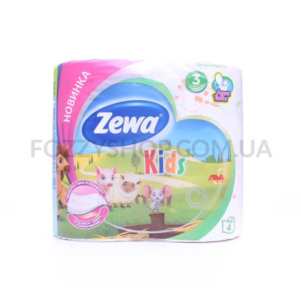 Бумага туалетная Zewa Kids белая 3слоя