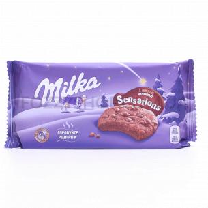 Печенье Milka с какао с начинкой и кусоч мол шокол