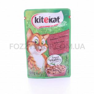 Корм для котов Kitekat говядина в сосусе