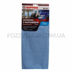 Салфетка для стекла Sapfire, микрофибра, голубая 35*40см