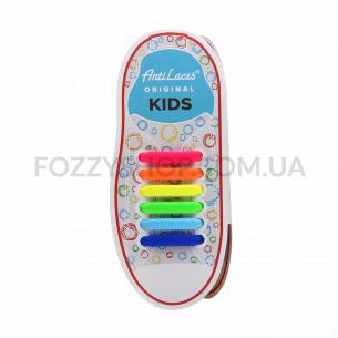 Шнурки AntiLaces Kids силиконовые разноцветные 38мм