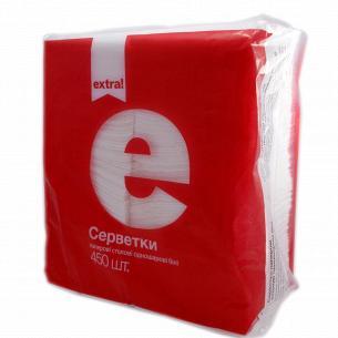 Салфетки столовые Extra! 1-слойные белые 450шт/уп