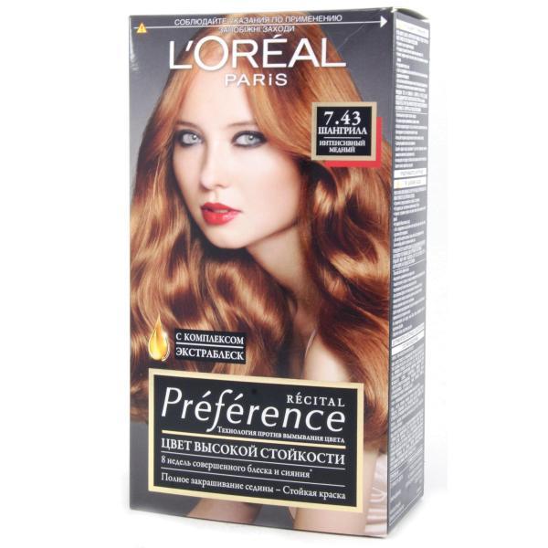 Краска для волос  L`Oreal RECITAL Preference тон 7.43