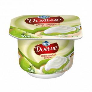 Йогурт Дольче киви двухслойный 3,2% стакан