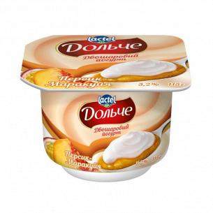 Йогурт Дольче персик маракуйя двухслойный 3,2% стакан