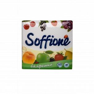 Салфетки бумажные Soffione белые 1-слойные 330х330