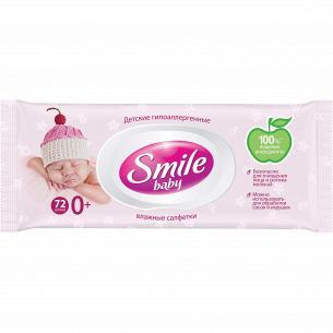 Салфетки влажные Smile Baby для новорожденных с клапаном