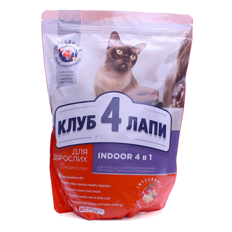 Корм д/котів Club 4 Paws 4в1, що живуть в приміщені сухий / '900г