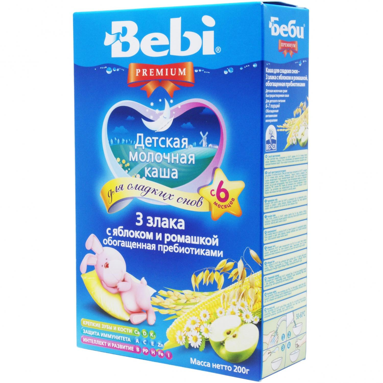 Каша Bebi Premium 3 злаки з яблуком і ромашкою / '200г