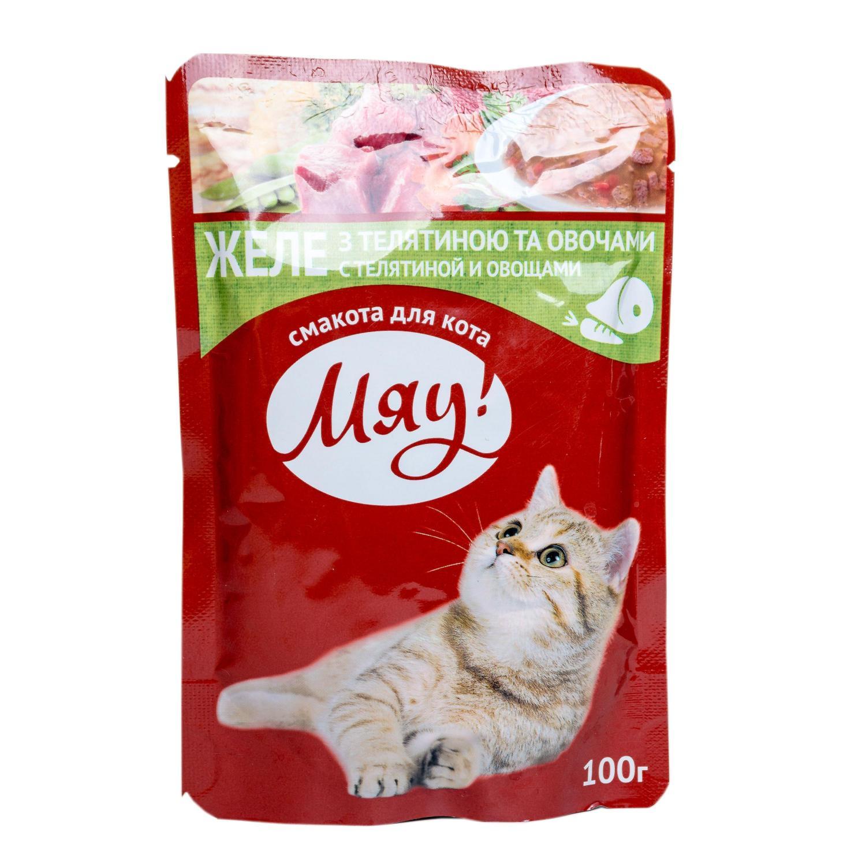 Корм для котів Мяу! телятина з овочами в желе / '100г