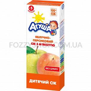 Сок Агуша яблоко-персик с мякотью 0%