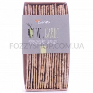 Хлебцы Danvita хрустящие пшеничн с оливками-чесноком