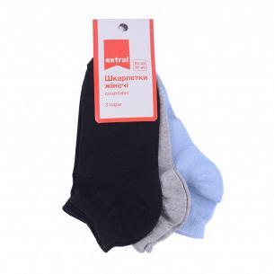 Носки женские Extra! спорт черный, голубой, серый р23-25