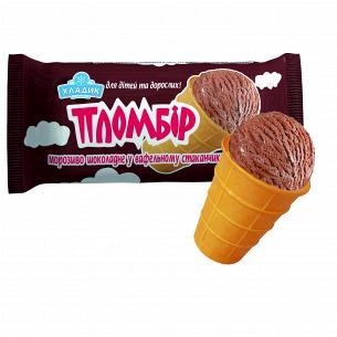 Мороженое Пломбир 12% шоколадный в вафельном стакане