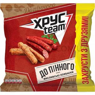 Хрустящие сухарики ХрусTeam со вкусом охотничьих колбасок 110г