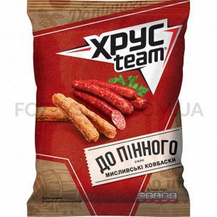 Хрустящие сухарики ХрусTeam со вкусом охотничьих колбасок 70г