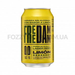 Пиво Damm Free Lemon светлое безалкогольное ж/б