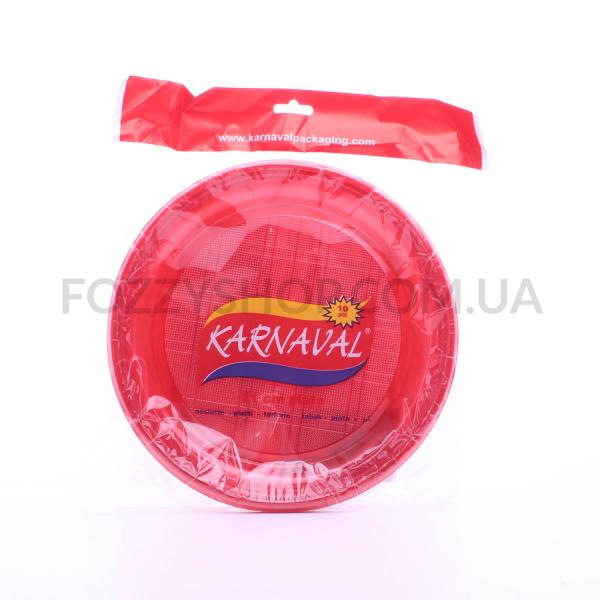 Тарелка одноразовая Karnaval красная d21см