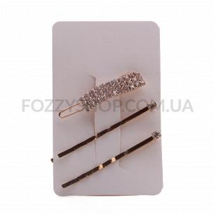 Набор заколок для волос Akcent, металл с кристаллами, 3 шт. N3617