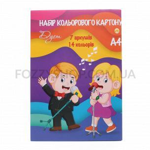 Набор цветного картона Тетрада Цветной дуэт А4 7 листов