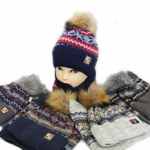 Комплект для хлопчика Kraft + шапка + хомут зима 1395К