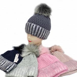 Шапка для дівчинки Kraft + зима 1432-1