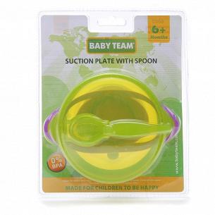 Тарелка Baby Team на присоске с крышкой и ложкой 6002